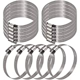 Glarks 15Pcs 105-127mm/4.13-5inch Range 304 Stainless Steel Adjustable Worm Gear Hose Clamps for Fuel Line Clamp for Water Pipe, Plumbing, Automotive and Mechanical (105-127mm)