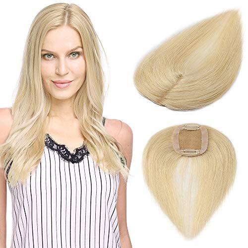 Clip in Extensions Echthaar Toupet für Frauen 100% Human Hair Natürlich Weich Haarteil mit 6 * 9cm Seide Basis 15cm-15g 613# Bleichblond