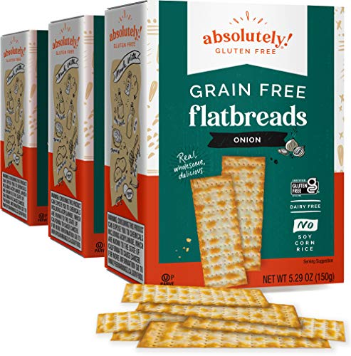 Absolutely Gluten Free Grain Free Toasted Onion Flatbread 5.29oz (3 Pack), Gluten Free, Dairy Free, No Soy, Corn or Rice , Certified Kosher