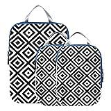 Juegos de cubos de embalaje Adorno en forma de diamante blanco y negro Bolsas de embalaje de viaje Organizador de equipaje expandible para equipaje de mano, viaje (juego de 3)