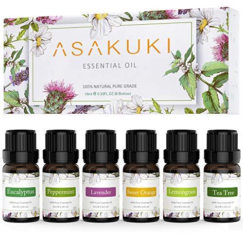 ASAKUKI Starter Kit Pure Essential Oils Gift Set 6 x 10 mL, Natural Lavender, Eucalyptus, Lemongrass, Tea Tree, Sweet Orange and Peppermint, Diffuser, Humidifier, Massage or DIY Soaps, Candles