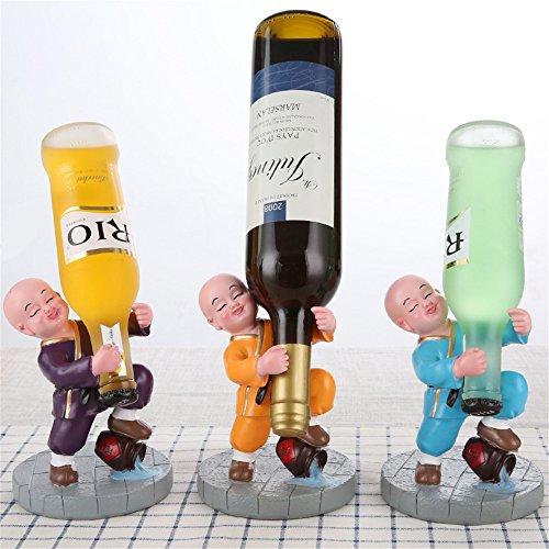 LL-COEUR 1pc/3pcs Novice Bonze Porte Bouteille Décoration Casier à Vin Original Support pour Cocktail Sculpture Idée Cadeau 12 x 12 x 17 cm (Bleu+Violet+Jaune)