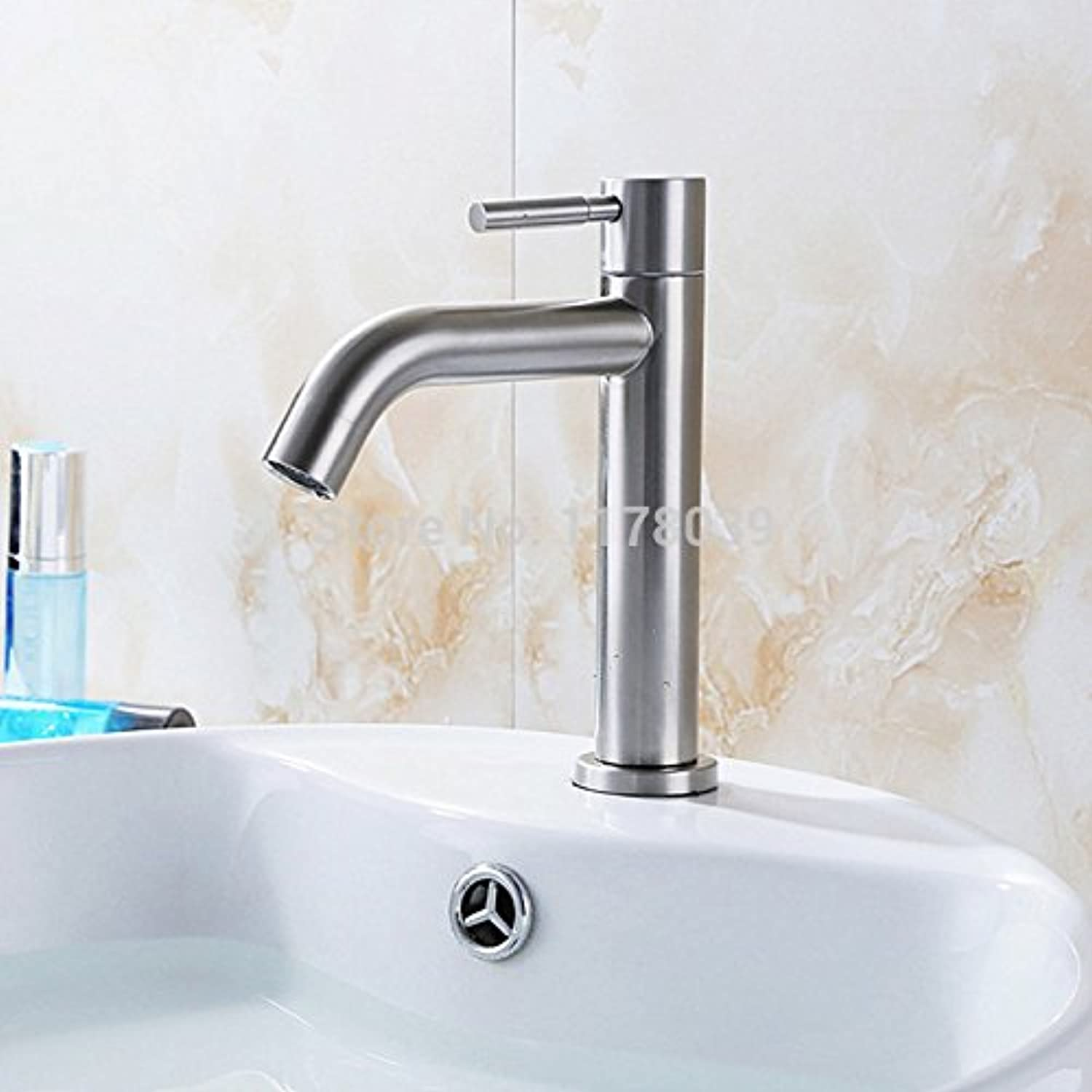 U-Enjoy 304 Stainless Steel Top Quality Single Cold Faucet Bathroom Single Cold Tap Contemporary Single Handle Bathroom Faucet (Free Shipping)