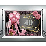 GESEN 40th Happy Birthday Backdrop for Photography 10x7FT Pink High Heel Rose 40 Balloons Champagne Background for Women, Photo Studio Props LSGE1378