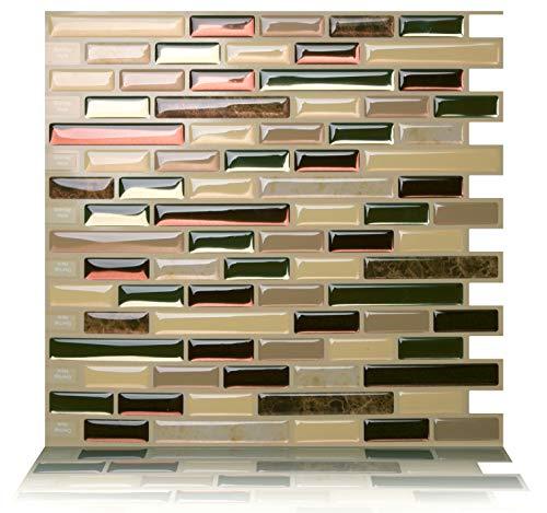 Tic Tac Tiles 25cm x 25cm 10 stück 3D selbstklebende Fliesenaufkleber Mosaik Wandfliesen Küche Spritzschutz Badezimmer - Como Mare (Braun Grün)