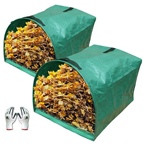 Gardzen 2-Pack Large Yard Dustpan-Type Garden Bag for Collecting Leaves - Reuseable Heavy Duty Gardening Bags, Lawn Pool Garden Leaf Waste Bag - 53 Gallon Per Bag, Come with Gloves