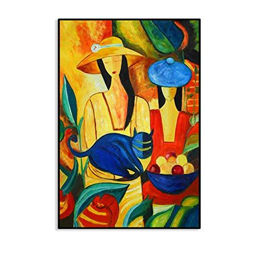NIEMENGZHEN Druck auf Leinwand Picasso Berühmte Moderne bemalte Leinwand Malerei Wandbilder für die Inneneinrichtung Malerei Figurenarbeit 27,5