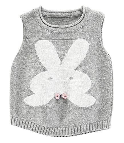 EOZY Baby Mädchen Strickweste Baumwolle Kleinkind Kaninchen Weste Pullover Grau Größe 90