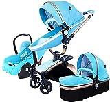 FXBFAG 3 en 1 cochecitos para bebés con Marco de aleación de Aluminio de Cuero de Asiento de Coche con Carro de Cochecito Plegable para niños pequeños para niños pequeños para niños pequeños y niños