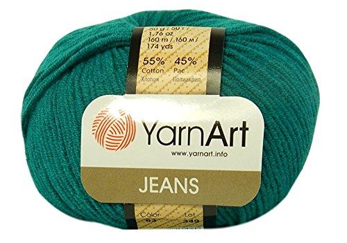 YarnArt Jeans Garn Baumwollgarn Amigurumi Babygarn Wolle 50g Yarn Art 160m/50g Farbe Smaragdgrün 63
