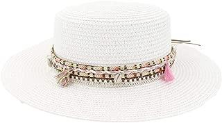 SHENTIANWEI Women's Flat Top Sun Hat Outdoor Seaside Tourism Vacation Beach Visor Color Tassel Woven Belt Fashion Beach Hat
