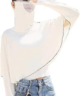 Women Sun Protection Long-Sleeve High Neck Mask Crop Jacket Coats