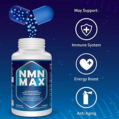 51FqhsLmhkL - 4 Pack NMN Capsules with Maximum Strength- 500mg- High Absorption Nicotinamide Mononucleotide Supplement- Supports Brain Function & Anti Aging