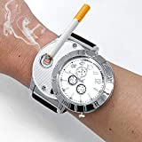 ArcWatch Men's Stylish Flameless Windproof USB Cigarette Lighter/Watch | Heat Coil Ignition | Quartz Timepiece (Military Brown Strap)