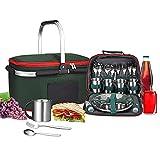 Kacsoo Mochila de Picnic para 4 Personas, bolsa de alimentos + bolsa de vajilla, juego de cubiertos portátil plegable cesta de picnic bolsa de aislamiento portátil