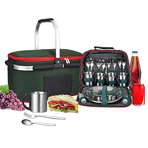 Kacsoo Tragbar Picknickrucksack für 4 Personen, Lebensmittelbeutel + Geschirrtaschentrennung, Tragbares Besteckset Klappbarer Picknickkorb Tragbarer Isolierbeutel/Kühlung