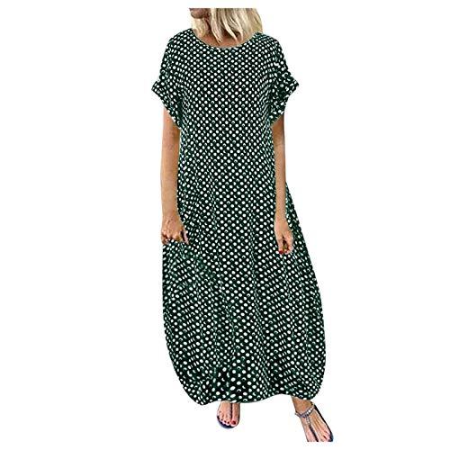 VESNIBA Vestido de verano para mujer, estilo túnica, holgado, plisado, manga larga, estilo boho, informal, tallas grandes Verde_2b XXL