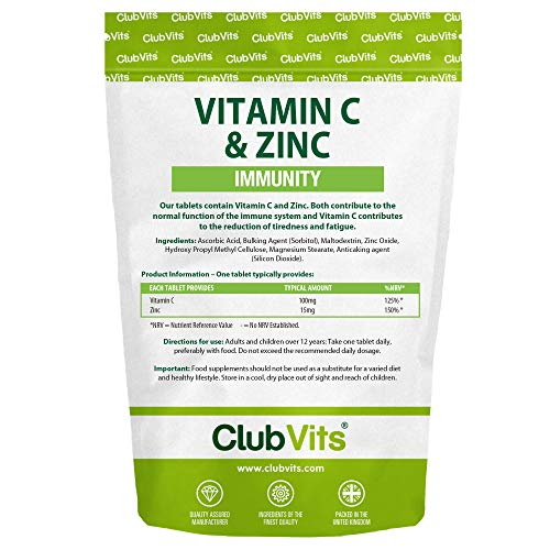 Vitamin C 100mg & Zinc 15mg | 365 Tablets | Assists Immune Health & Colds by Club Vits
