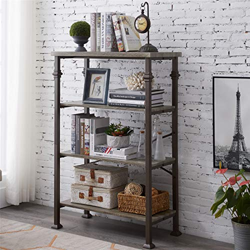 Henf 4-Tier Bookshelf, Modern Ladder Bookcase with with Industrial Metal Frame, Vintage Industrial Metal Bookcase Multi-Functional Shelf Units for Living Room (48.6''H)