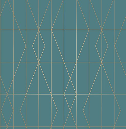 Brewster UW24786 Leveque Teal Deco Diamond Geo Wallpaper