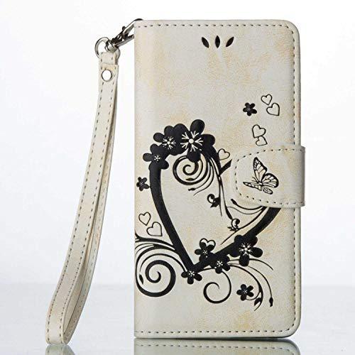 Huawei P9 Lite Hülle,THRION PU Herz Blume Brieftaschenetui mit magnetischer Handschlaufe und Ständerhalterung für Huawei P9 Lite, Weiß