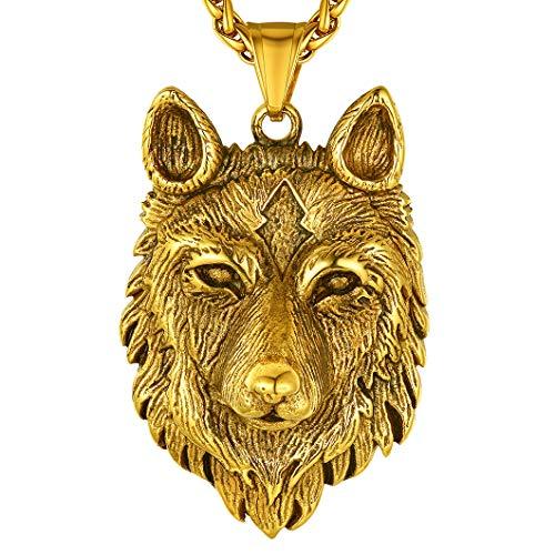 Richsteel Colgante Amuleto Cabeza de Lobo Vikingo con Cadena Acero Oro para Hombres y Mujeres
