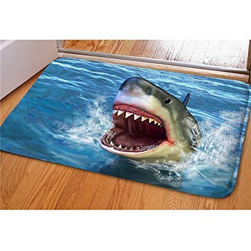 Dellukee Indoor Outdoor Doormats Cute Shark Printed Non Slip Durable Washable Funny Home Decorative Door Mats Bath Rugs for Entrance Bedroom Bathroom Kitchen, 23 x 16 Inches