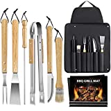MOSFiATA BBQ Grill Tools Set, 9PCS Stainless Steel BBQ Grill Accessories Grilling Cooking Accessories with Grill Mats, Brush, Oak Handle and Oversize Waterproof Storage Apron Gift Set Indoor/Outdoor
