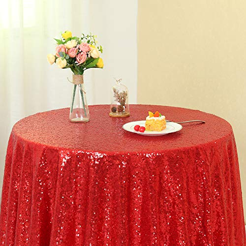 "Zdada (72"" Round Sequin Wedding Tablecloth Rose Gold Sequin Table Cloth Shimmer Table Cover"