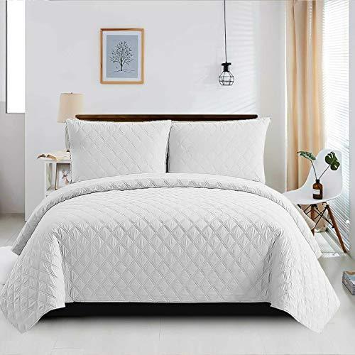 Gesteppte Tagesdecke für King-Size-Bett, gesteppt, gesteppt, wendbar, für Schlafzimmer, Dekor, Set mit 3 weißen Bettbezügen + 2 Kissenbezügen