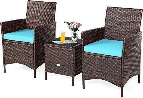 YRRA 3-delad uteplats konversationsset rottingstolar med glasskiva fyrkantigt soffbord och kuddar alla väder utomhus rottingmöbel set (röd) – turkos