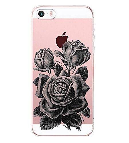iPhone SE iPhone 5 Apple 5S Custodia Panda Rosa Erba Transparente Silicone Cover Alsoar TPU Gel Protettivo Skin Shell Case per Apple iPhone SE 5 5S (Rosa)