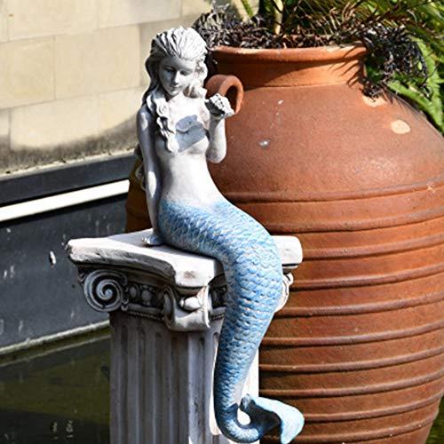 FF&XX Al Aire Libre Sirena Escultura,Princesa Estatua,Ornamento Escultura,Pecera Estatua Decorativa,Figurín para Jardín,para Al Aire Libre Decoración del Hogar C 34x25cm(13x10inch)