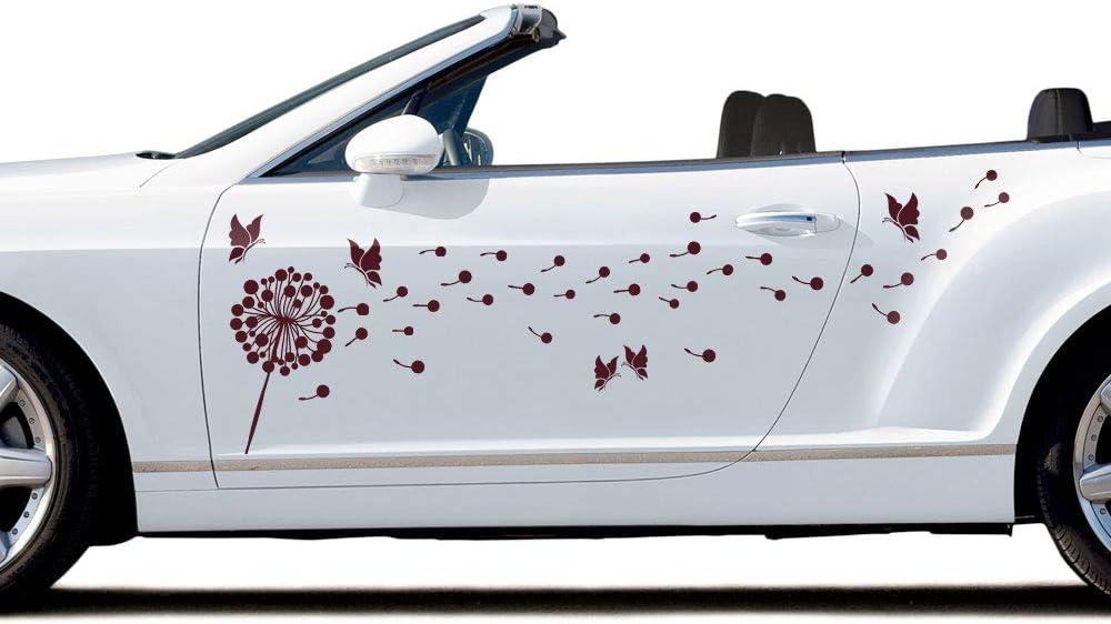Grazdesign Autoaufkleber Auto Komplett überkleben Autotattoo Pusteblume Autoschmuck Mit Schmetterlingen 57x57cm 010 Weiß Küche Haushalt