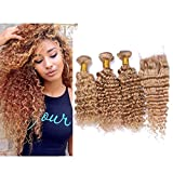 Mila 3 Bundles/Lot Echthaar Natural Tressen Lockig Extensions Honey Blonde 27# Brasilianisches Hair Weave Deep Wave Style 300gram mit Lace Closure (4'×4') (12'14'16'+12'closure)