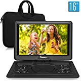 NAVISKAUTO 16 inch Portable DVD Player with Large Screen Carrying Bag Rechargeable Support HDMI Input, 1080P MP4 Video, Sync Screen, Last Memory, AV in & Out, Region Free