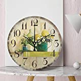 FUTIIF Estilo Europeo Retro Simple Creativo Reloj De Pared Americano Sala De Estar Dormitorio Personalidad Moderna Flor Mariposa Reloj De Cuarzo 12 Pulgadas B