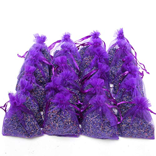 Coolrunner 24 Small Lavender Sachets Craft Bag, Purple Sachets Craft Bag with Dried French Lavender Flower Buds for Closets and Drawers, Wedding Toss, Home Fragrance