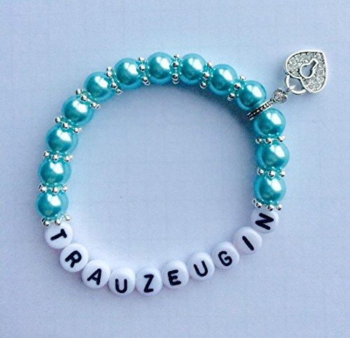 Parelarmband trouwgetuige of bruidsmeisje voor uw bruiloft, armband ook gepersonaliseerd met namen (druipin lichtblauw)
