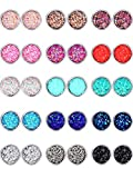 15 Pairs Faux Druzy Stud Earrings Set Stainless Steel Round Earrings Bohemian Pierced Earr...