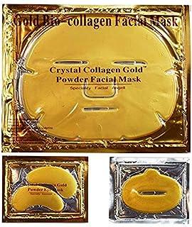 24K Gold Gel Collagen Facial Masks, 5 Packs Face Masks + 5 Pairs Gel Collagen Eye Masks+5 Pairs Lip Care Gel Masks Set for Anti-Aging & Moisturizing, Reduces Dark Circles, Nourishing Lips