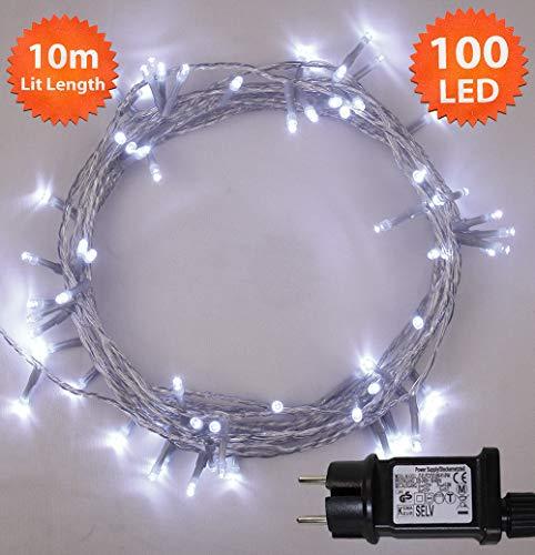 Lichterkette Weihnachtsbeleuchtung außen 100 LED Helle Weiße innen led lichterkette weihnachtsbaum Gedächtnisfunktion, Netzbetriebene 10m Lit-Länge- KLARES KABEL