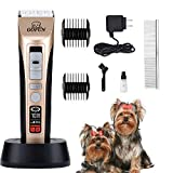 GOFUN Dog Clippers, 5 Speed Cordless Low Noise Pet Clippers Dog Trimmer for Dogs Cats Horses with LCD Screen Indicate Power/Oil/Cleaning