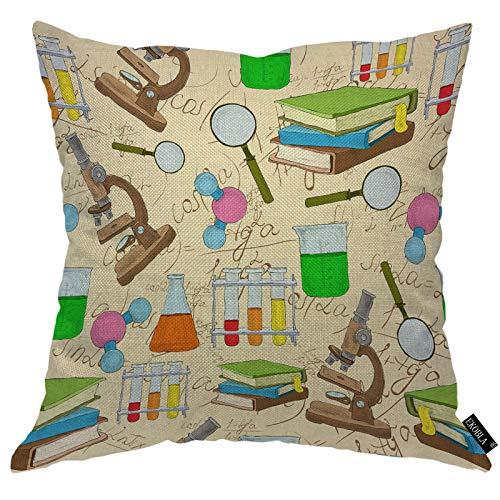 EKOBLA Science Laboratory Throw Pillow Cover Books Microscope Atom Chemistry Magnifier Formula Glasses Cozy Square Cushion Case for Men Women Boys Girls Room Home Decor Cotton Linen 18x18 Inch