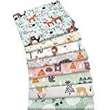 Aubliss 8pcs Fat Quarter Fabric Bundles 100% Cotton 20'' x 20''(50cm x 50cm) Quilting Cotton Craft Fabric Pre-Cut Squares Sheets for Patchwork Sewing Quilting Crafting(Forest)