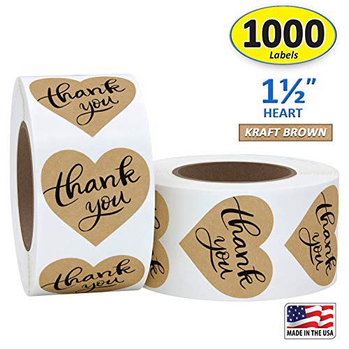 """1.5"""" Heart Shape Kraft Paper Thank You Adhesive Label, 1000 Stickers per Roll, Love Shape, 1-1/2 Inch"""