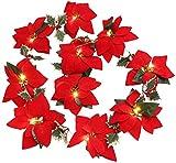 JHYFT Luces de Cadena Poinsettias Rojas 10 DIRIGIÓ Luces de Cadena de Navidad Velvet Flor Artificial Navidad String Lights for la Corona de la decoración de la Puerta de Vacaciones