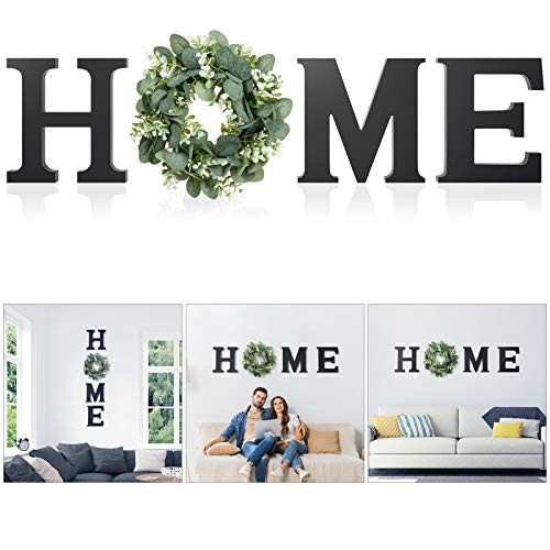 Wood Home Sign for Wall Decor Wooden Home Letters with Wreath Artificial Eucalyptus Modern...