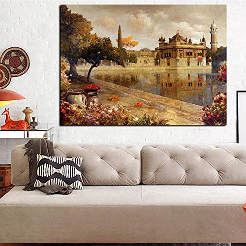 Print Retro European Buildings Oil Painting on Canvas Art Landscape Wall Picture Lake Garden Boat for Living Room Sofa Picture 50x70cm (no frame)