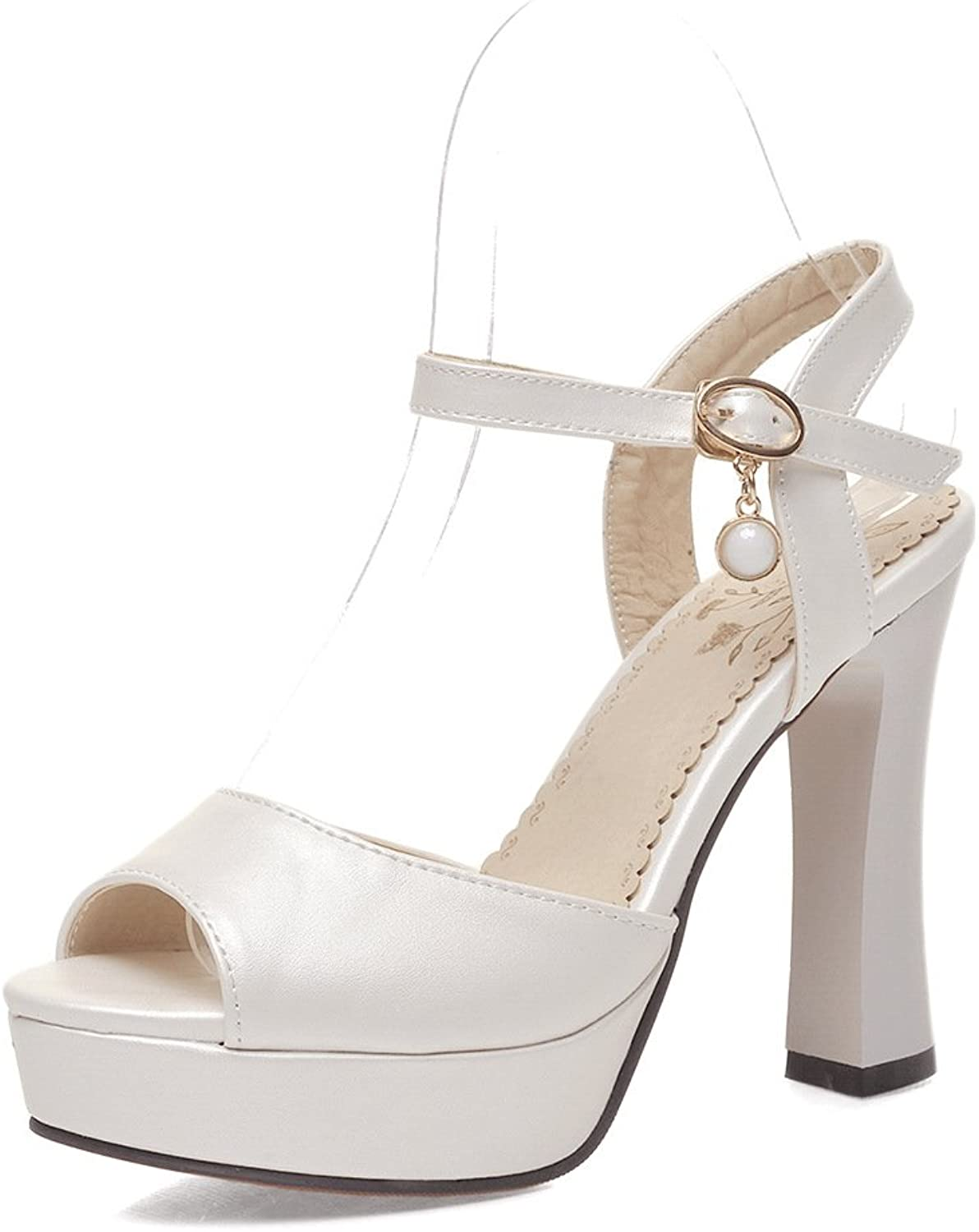 WHW Women's Spring Summer Fall PU Dress Casual Party Evening Wedge Heel Sandals,White,42